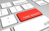 3D render of a computer keyboard with one key labeled for hate speech, representing discriminatory messages that plague online message boards and comment areas. poster