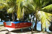 panga boat taxi on beach Lower Bay Bequia St. Vincent & the Grenadines poster
