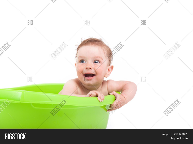 Cute Pretty Baby Boy Take Bath Tub Image & Photo   Bigstock
