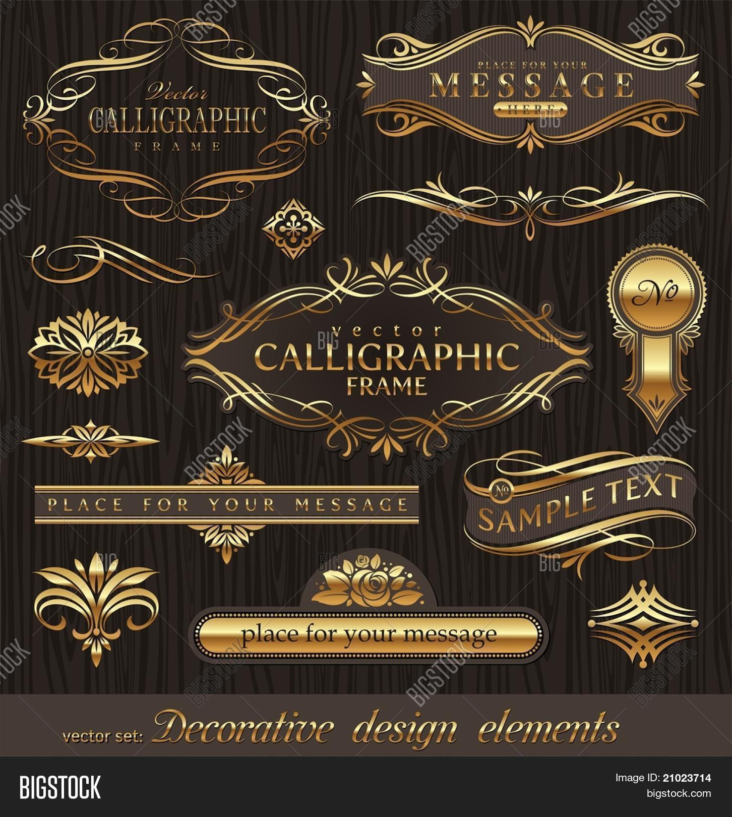 f240ae169bda Vector set of golden ornate page decor elements  banners