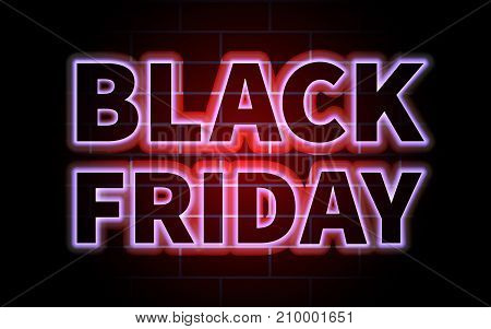 Black Friday black inscription with red and blue backlight on a brick wall background