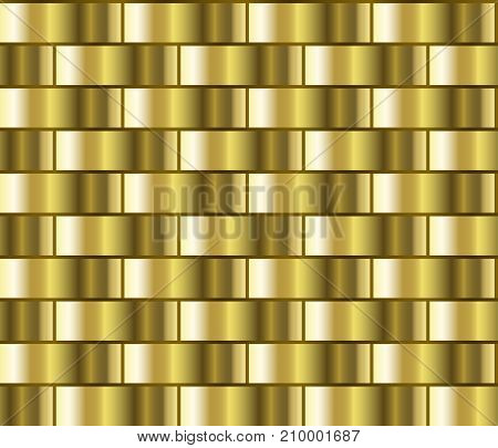 Golden seamless background in the form of a brick wall, chain mail. Gold gradient pattern