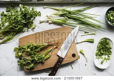 Aerial view of knife with fresh organic coriander