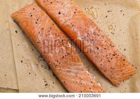 Two Fresh Salmon Fillets
