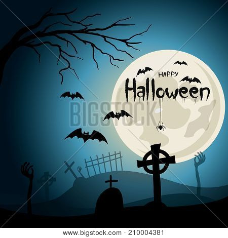 Halloween background. Graveyard with crosses and zombie hands at nigth. Full moon with lettering and spider