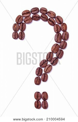 Question mark of coffee beans is isolated on white background. Which coffee to choose?