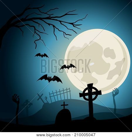 Happy Halloween background. Graveyard with crosses and zombie hands Full moon at nigth