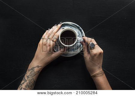 Tattoo Hands with Coffee Cup Beverage