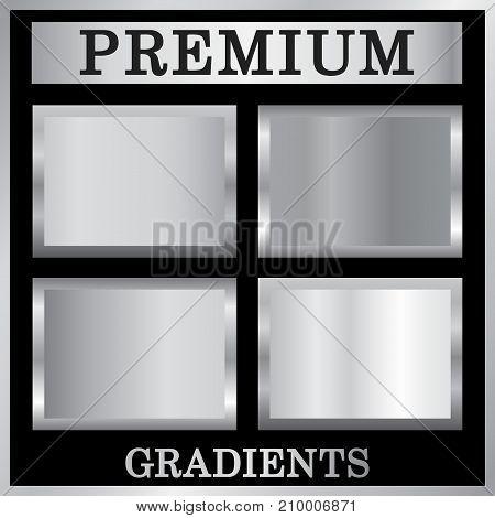 Silver Gradient Backgrounds Set