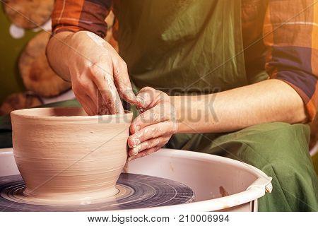 Close Up Pottery Woman Sculpts Clay