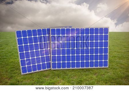 3d image of blue solar equipment against sky