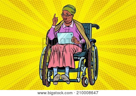 elderly African woman disabled person in a wheelchair, gadget tablet. Pop art retro vector illustration