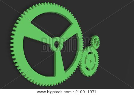 Set Of Green Gears And Cogs On Black Background