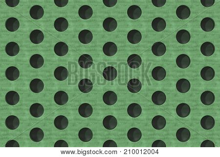 Plain Green Wooden Surface With Cylindrical Holes