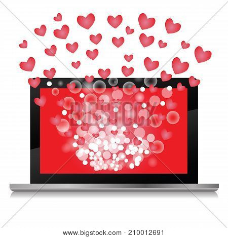 Notebook and Symbol of Valentines Day on white background. Red Hearts Explosion