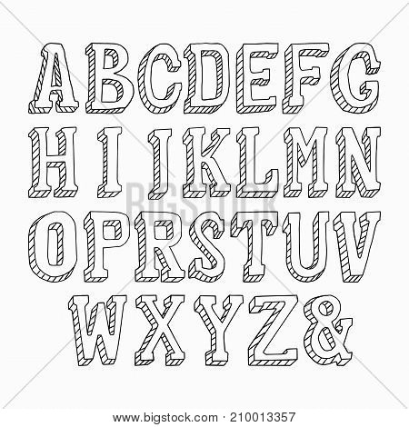 Capital letters hand drawn on a white background. Vector illustration, EPS 10
