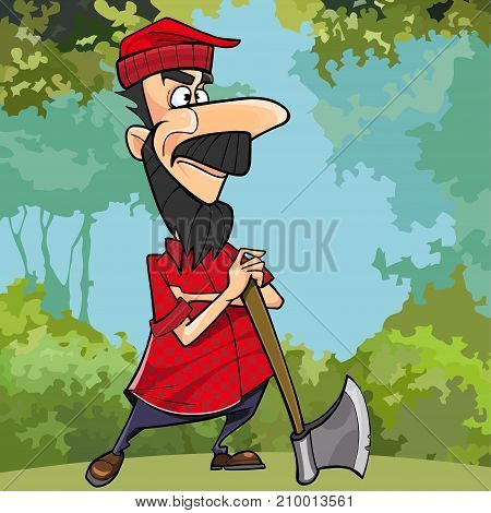 cartoon woodcutter in the forest is leaning on the axe