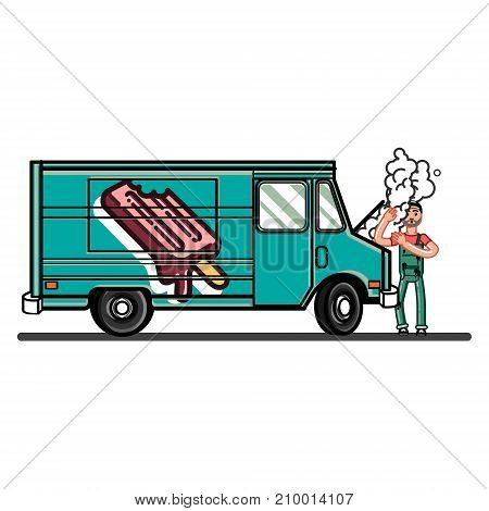 Man from car repair try to fix the car. Vector illustration, EPS 10