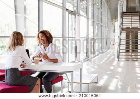 Two young businesswomen at a meeting, talking