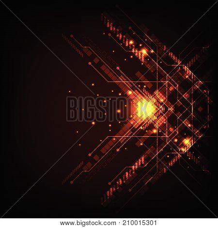 Vector in technology concept on a dark orange background.
