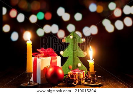 New Year celebration. Bright lights on New Year's Eve. Christmas decorations and candles.