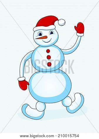 Snowman isolated object on white background Vector illustration.