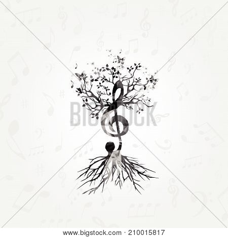 Black and white music poster with G-clef tree. Music elements design for card, poster, invitation. Music background with music notes vector illustration