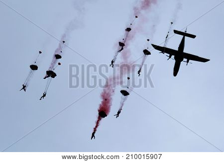 RAF Falcons freefall parachute display team at the inaugural RAF Scampton air show in Lincolnshire, UK, 10 September, 2017.