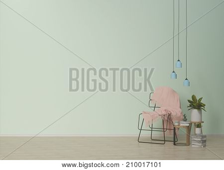 Pink fabric on the chair chair and lamp on empty room,lamp and plants,interior background,3D rendering