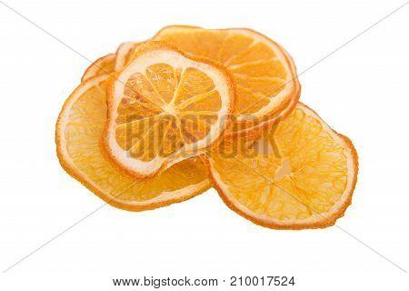 dry orange copy space, on white background