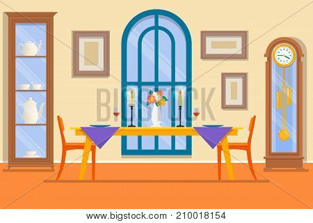 Restaurant or dining room interior.Dining table for date with glasses of wine flowers and chairs and sideboard. Flat Vector illustration.
