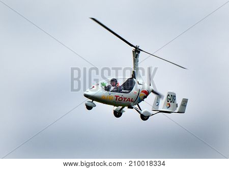 Calidus autogyro at the inaugural RAF Scampton air show in Lincolnshire, UK, 10 September, 2017.