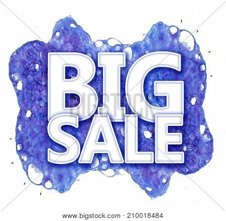 winter banner big sale on the background of watercolor spots