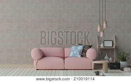 Pink sofa furniture set in living room 3D illustration interior design,Reception area in the office ,room interior design