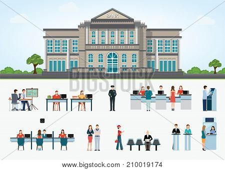 Bank building exterior in city space and public access to financial services to banks isolated on white bank interior counter desk cashier consulting presenting Banking concept vector illustration.