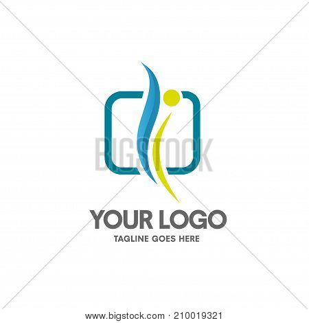 health coaching logo vector, fitness and health concept, simple human figure