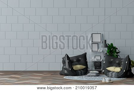 Empty living room with white wall in the background. 3D illustration interior designer,modern living room style
