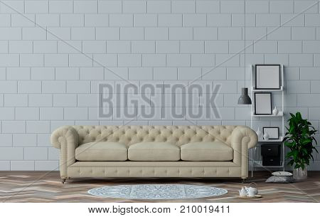 Classic sofa in living room  interior design 3D illustration and white wall simple furniture set,Reception area in the office,room interior design