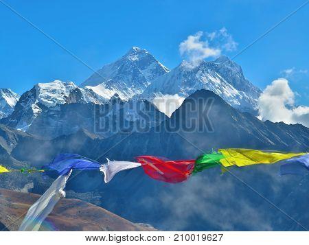 Nepalese prayer flags on the background of Mount Everest summit (8848 meter). Gokyo Ri, Nepal