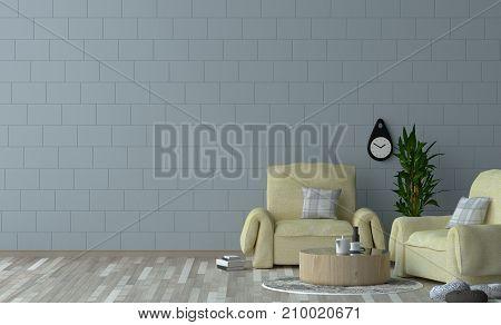 Minimalist interior design yellow armchair in living room 3D rendering simple interior design in home,office interior