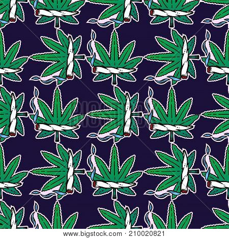 Pop ganja weed marijuana seamless vector pattern background in cartoon 90s party style. Joint and leaf ornament.