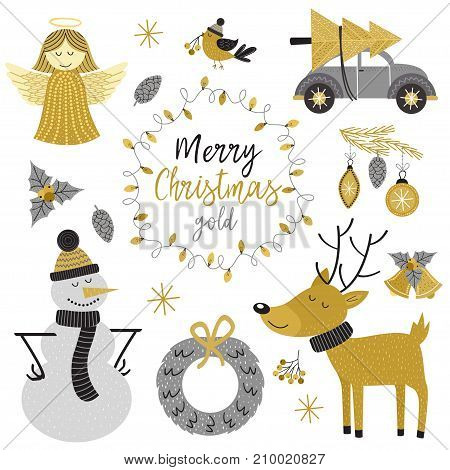 set of isolated Christmas gold characters and elements - vector illustration, eps