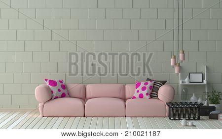 Pink long sofa furniture set in living room 3D illustration interior design,Reception area in the office ,room interior design