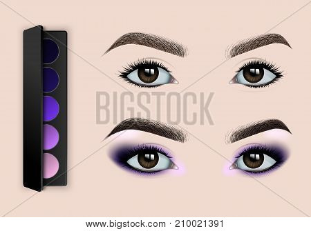 Female eyes before and after makeup. A set of eye shadow. Realistic vector illustration