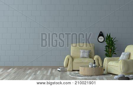Minimalist interior design yellow armchair in living room 3D rendering simple interior design in home,office interior