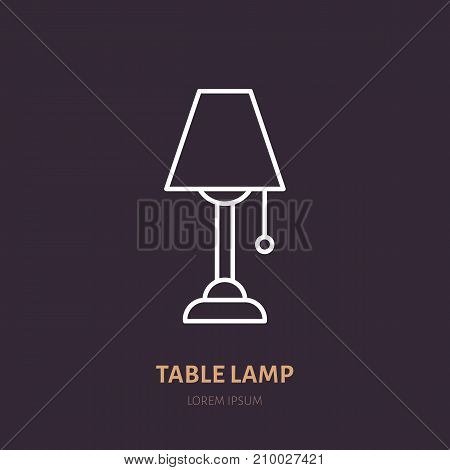 Table lamp flat line icon. Home lighting, light fixture sign. Illustration for interior store.