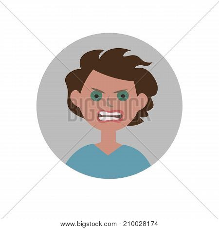 Angry emoticon. Anger expression icon. Isolated vector illustration