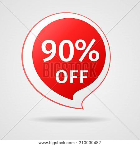 Discount Sticker with 90 percentOff. Sale Red Label Vector Illustration. Isolated Offer Price Tag. Creative Symbol Templates