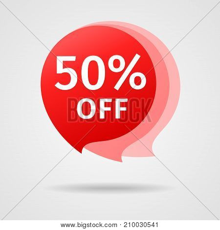 Discount Sticker with 50 percent Off. Sale Red Label Vector Illustration. Isolated Offer Price Tag. Creative Symbol Templates