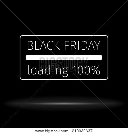 Black Friday 100 percent loading. Progress loading bar. Creative design templates.  Vector illustration